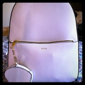 New white leather Aldo backpack
